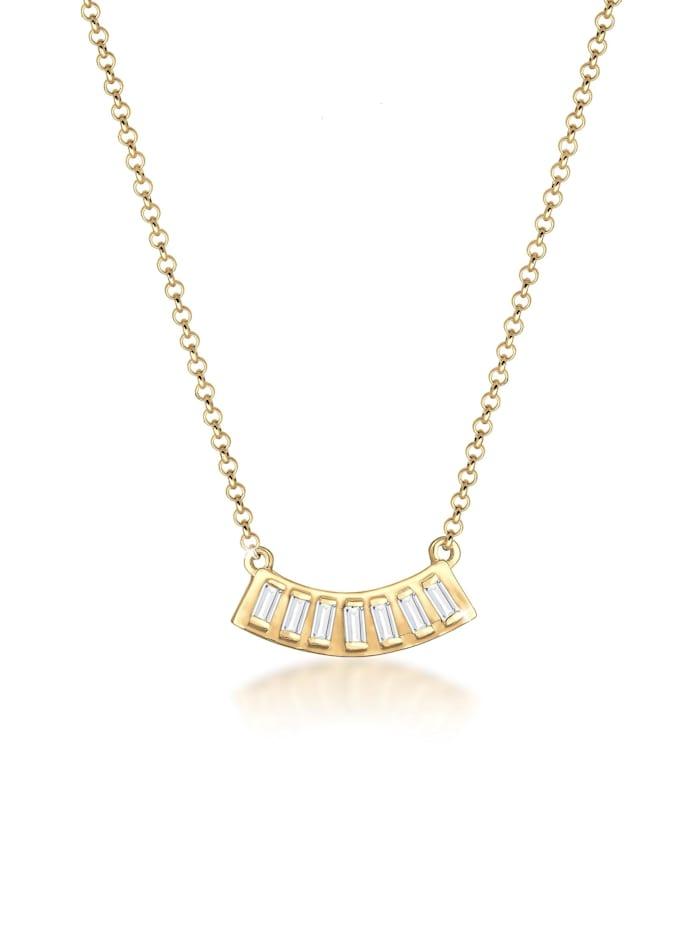 Elli Premium Halskette Layer Rechteck Geo Topas Edelstein 925Er Silber, Gold
