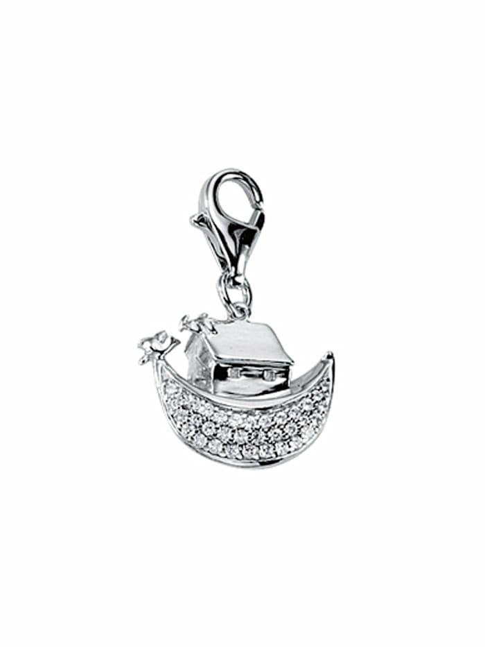 1001 Diamonds 1001 Diamonds Damen Silberschmuck 925 Silber Charms Anhänger Schiff mit Zirkonia, silber