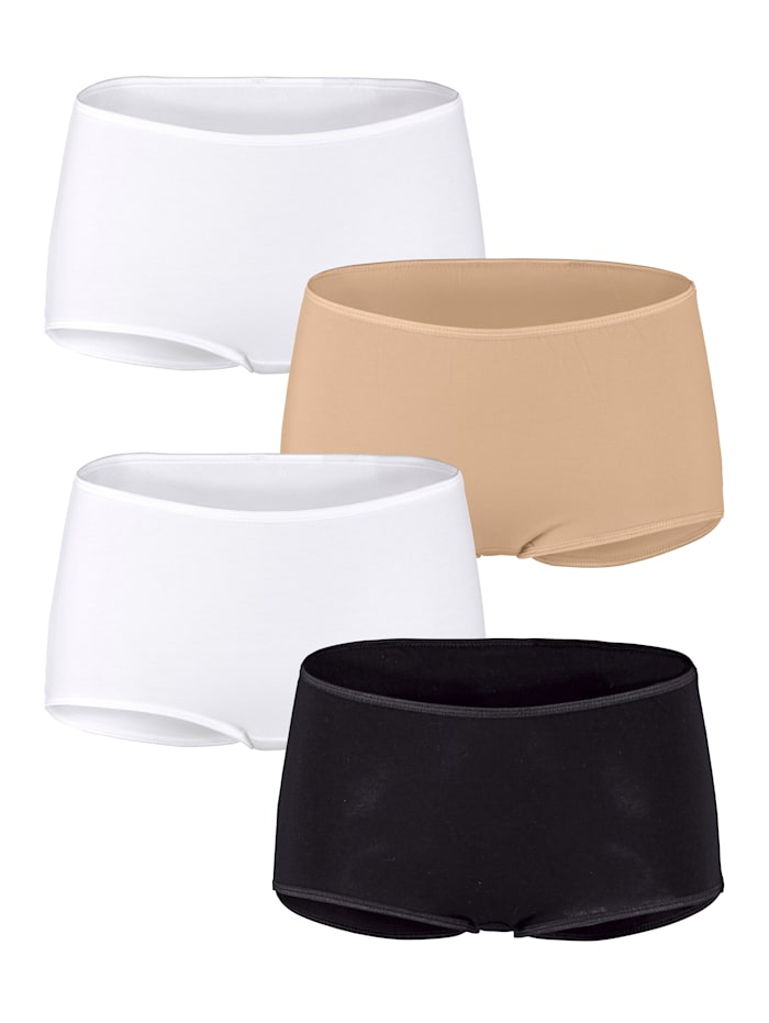 Harmony Panty 4er Pack, 2x weiß, 1x schwarz, 1x hautfarben