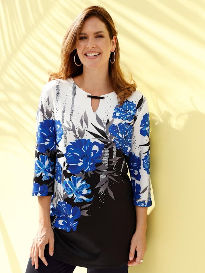 m. collection Longshirt in platziertem floralem Druckdesign, Schwarz/Weiß/Royalblau