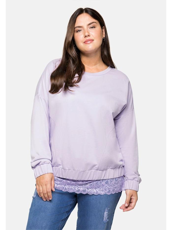 Sheego Oversized-Sweatshirt mit Gummibund, hellflieder