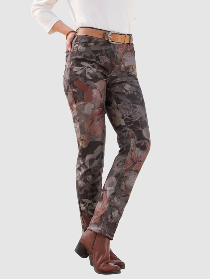 MONA Pantalon à imprimé floral, Brique/Olive/Taupe