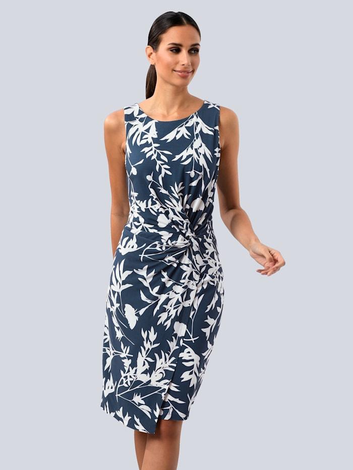 Alba Moda Kleid mit seitlichem Knoten, Marineblau/Weiß