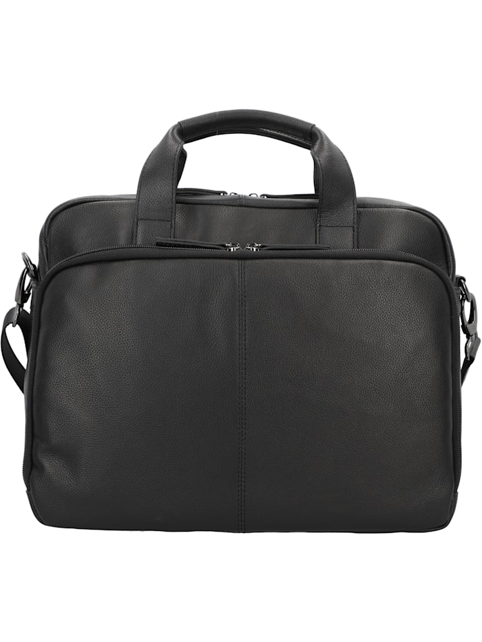 D&N Business Line Aktentasche Leder 38 cm Laptopfach, schwarz