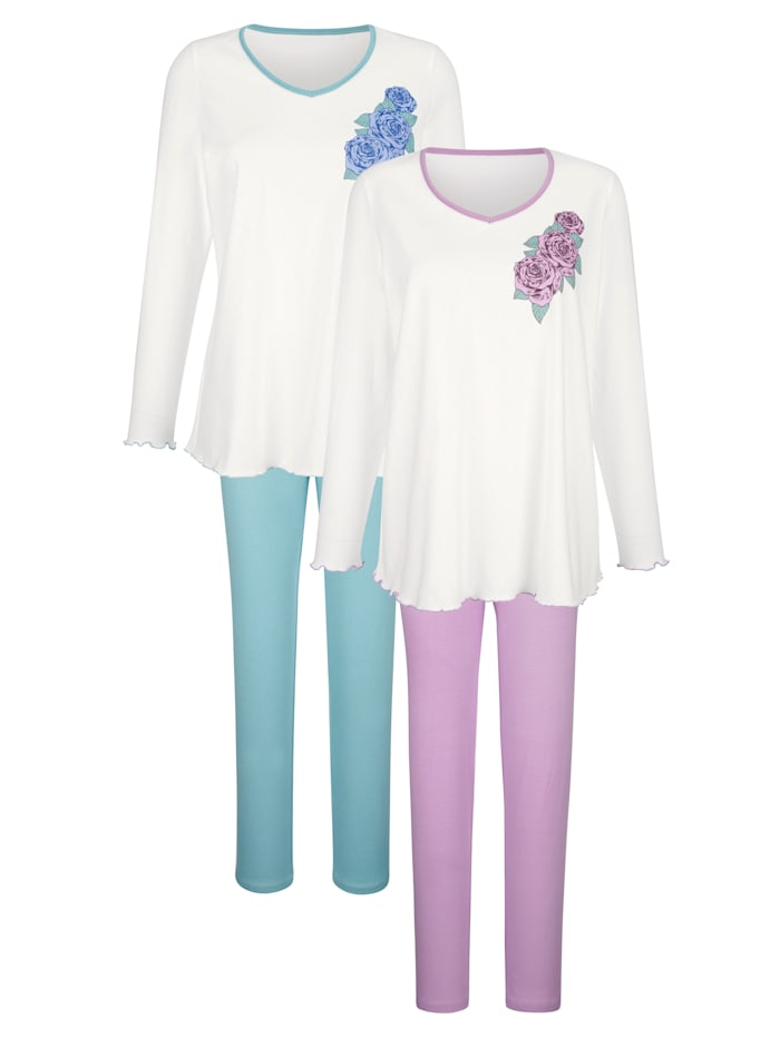 Harmony Pyjamas par lot de 2 à jolies finitions ondulées, Écru/Jade/Vieux rose
