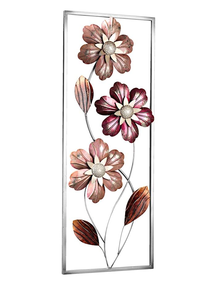 Décoration murale en métal Fleurs, Multicolore