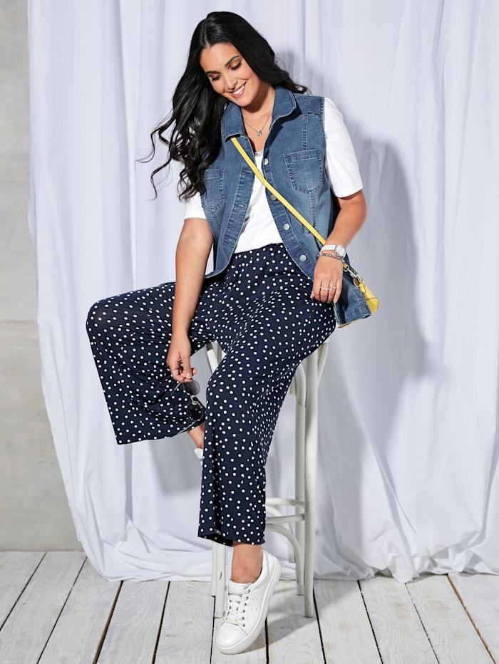 MIAMODA Gilet en jean sans manches avec rivets, Blue bleached