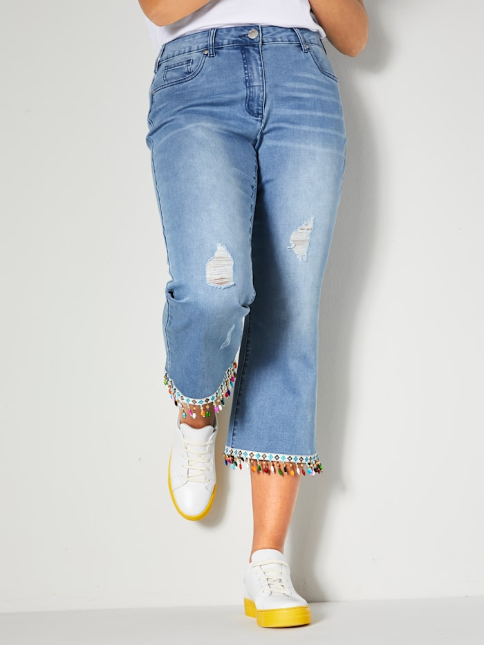 Angel of Style 7/8 Jeans mit bunten Perlen am Saum, Light blue