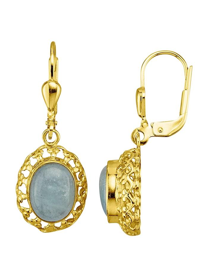 Øredobber i gullfarget metall, 333, Blå