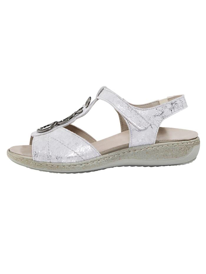 Sandale aus schimmerndem Leder