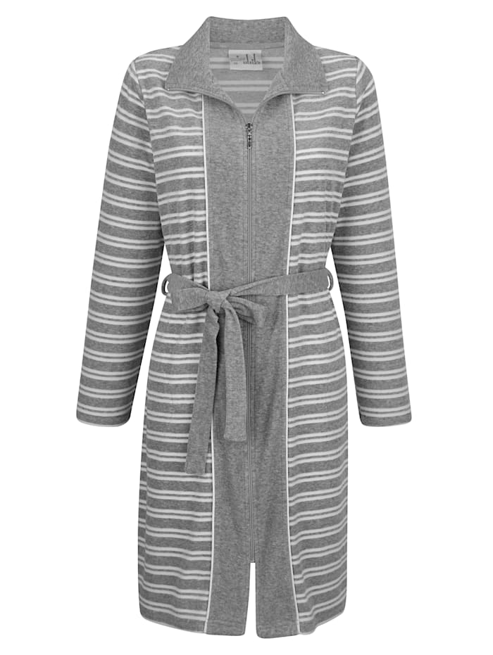 Blue Moon Badjas van comfortabele, elastische badstof, Grijs/Wit