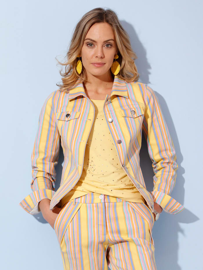 AMY VERMONT Džínsová bunda s prúžkovaným vzorom, Žltá/Svetlomodrá/Orgovánová