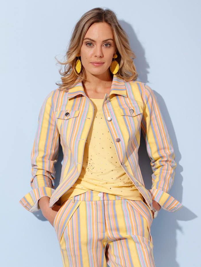 AMY VERMONT Jeansjakke med stripemønster, Gul/Lyseblå/Syrin