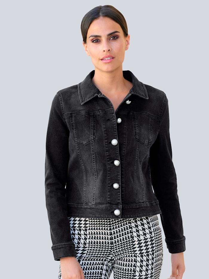 Alba Moda Veste en jean de coupe boîte tendance, Noir