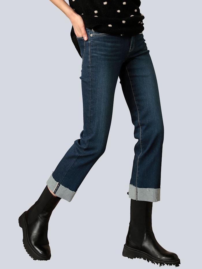 CAMBIO Jeans mit dekorativem Saum, Dark blue