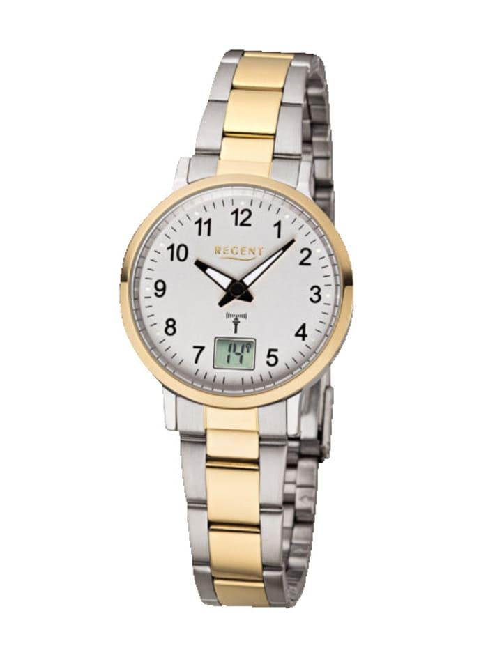 Regent Damen-Funk-Uhr 12030086, Silberfarben/Gelbgoldfarben