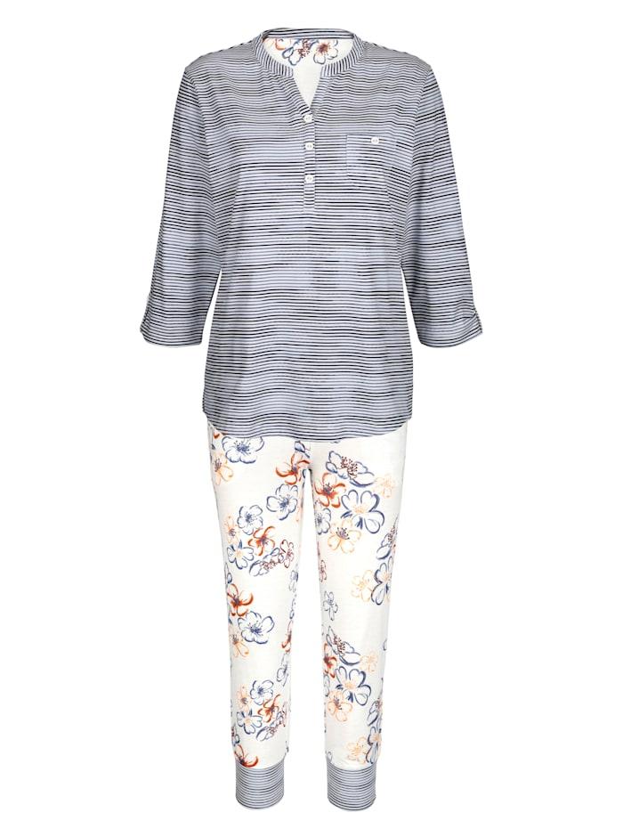 MONA Pyjama avec revers boutonnable aux manches, Écru/Marine/Brique