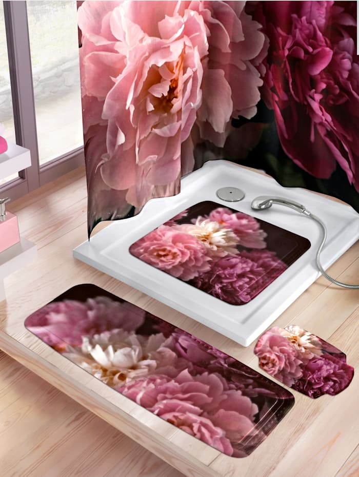 Kleine Wolke Badkarmatte -Rosemarie-, rosa/hvit/vinrød