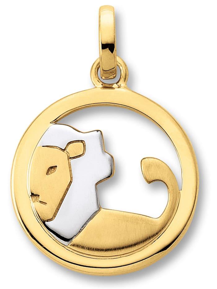 One Element Damen Schmuck Sternzeichen Anhänger Löwe aus 333 Gelbgold, gold