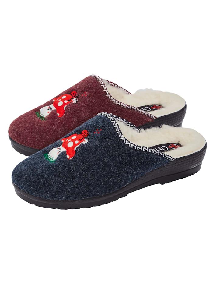 Belafit Pantoffels per 2 paar met schattig borduursel, Blauw/Rood