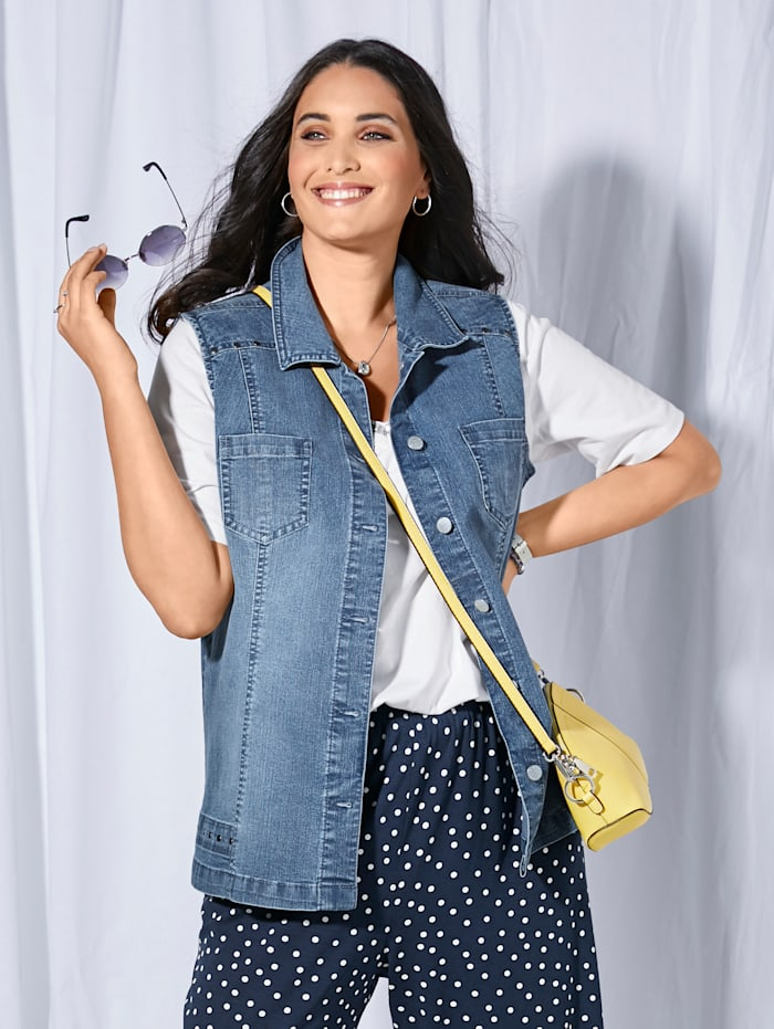MIAMODA Jeansvest med nagler, Blue bleached