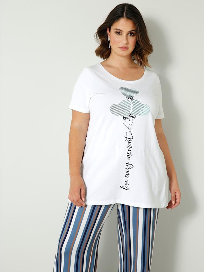 Sara Lindholm Shirt mit Pailletten, Weiß