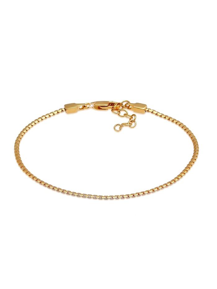 Elli Armband Schlangenkette Oval Flach Basic 925 Silber, Gold