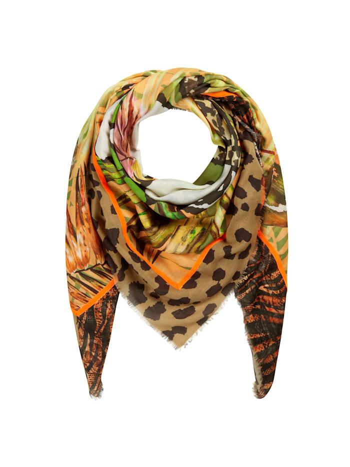 Codello PEANUTS Tuch mit Dschungel-Motiv aus Baumwolle und Modal, camel