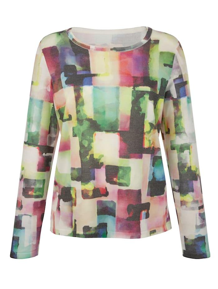 AMY VERMONT Pullover mit grafischem Druck allover, Grün/Weiß/Blau/Lila