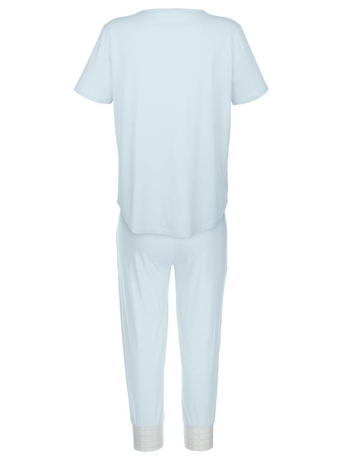 Pyjama met gedessineerde paspels