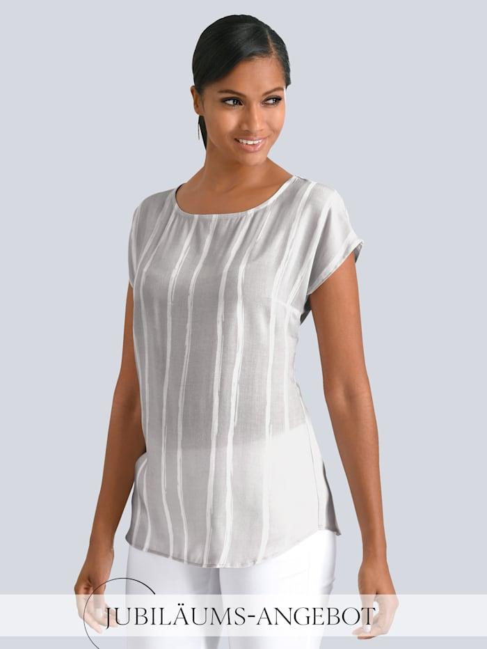 Alba Moda Bluse im dezentem Streifendessin, Grau/Off-white