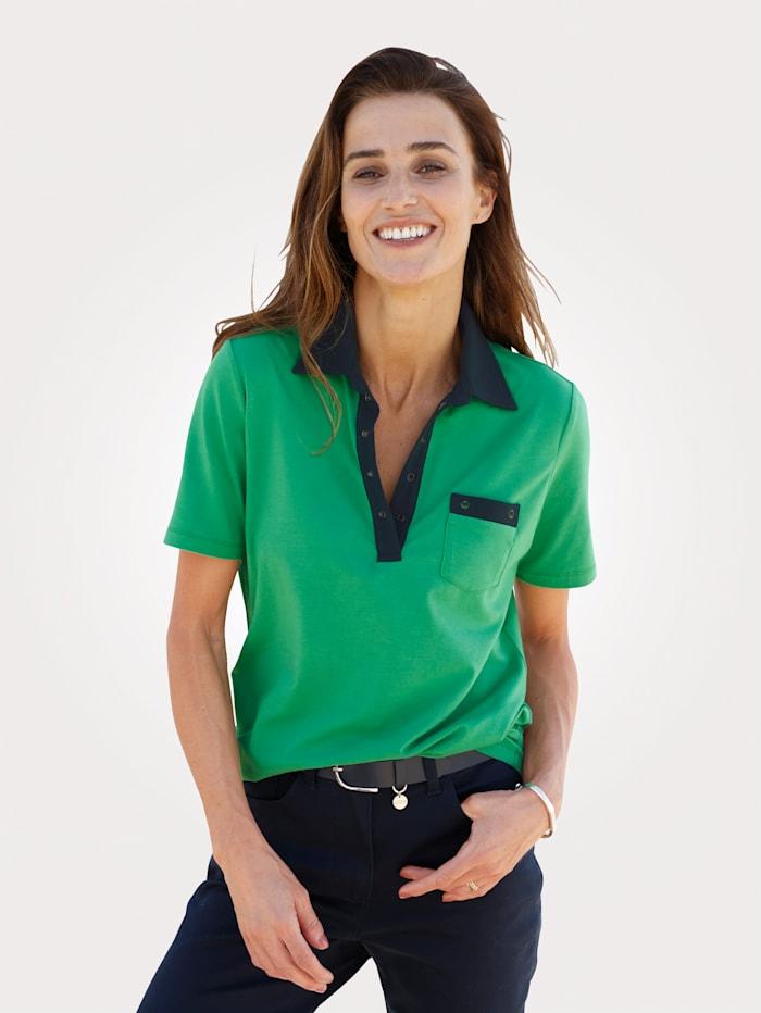 MONA Poloshirt mit Kontrast-Details und Ösen, Grün/Marineblau