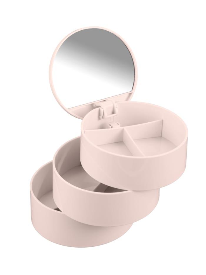 Wenko Kosmetik Tower Rosa, mit drehbaren 3 Fächern und Spiegel, Rosa