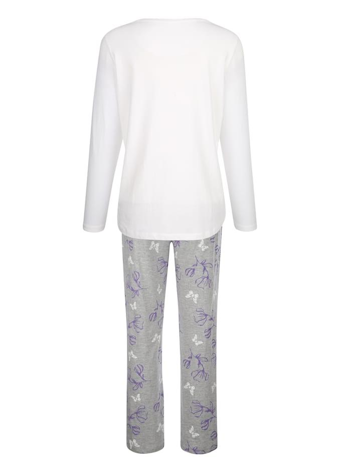 Schlafanzug mit blumigen Druckdessin