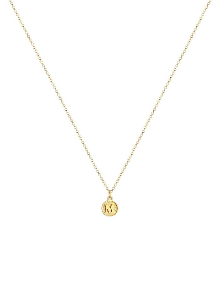 Halskette Buchstabe M Initialen Vintage Plättchen 925 Silber