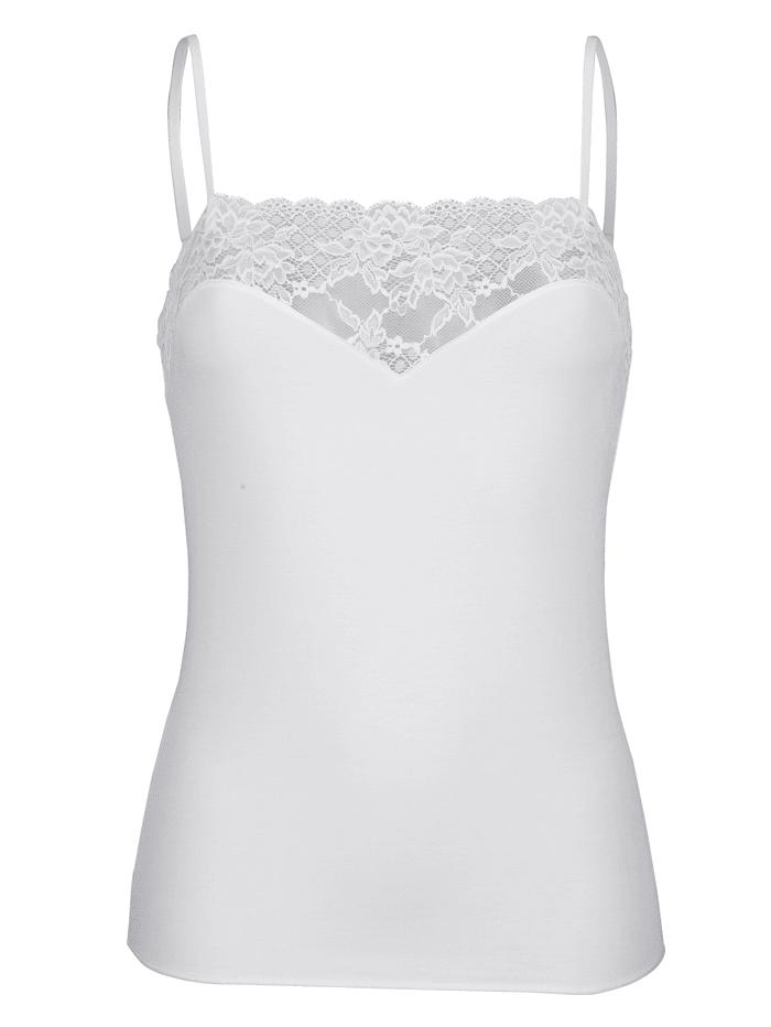 MONA Spaghettiträgerhemd mit verstellbaren Trägern, Weiß