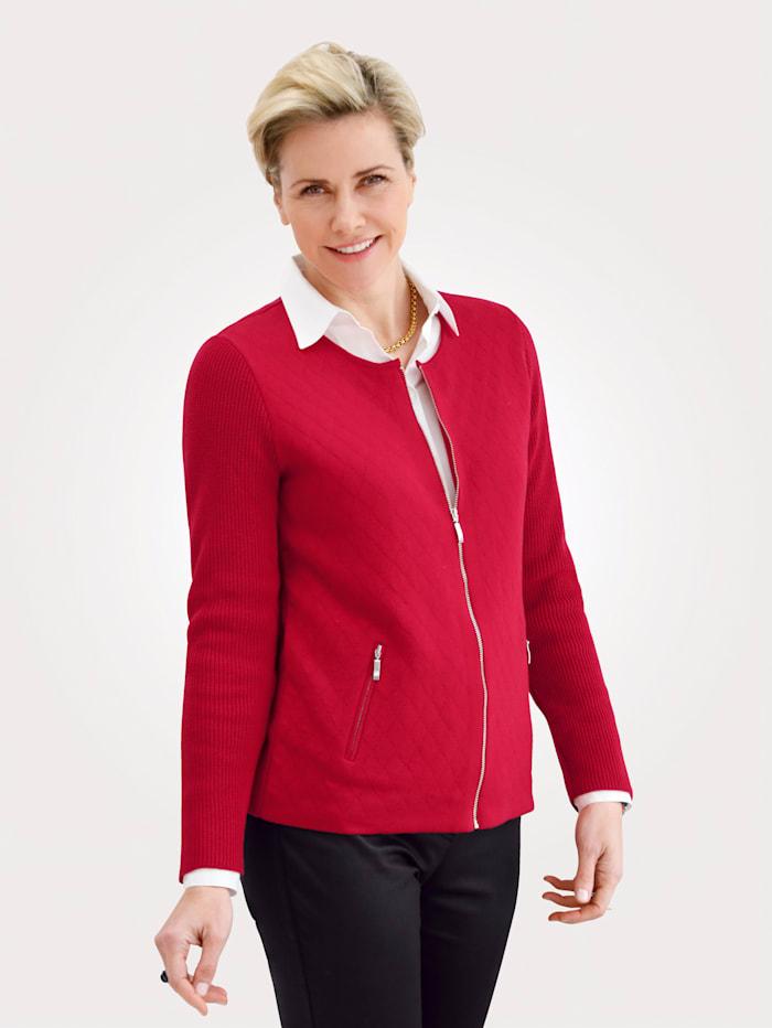 MONA Strickjacke mit modischer Rautensteppung, Rot