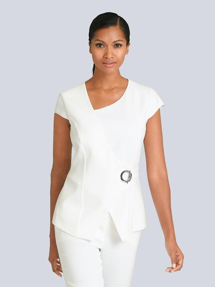 Alba Moda Bluse mit auffälligem Verschluss, Off-white