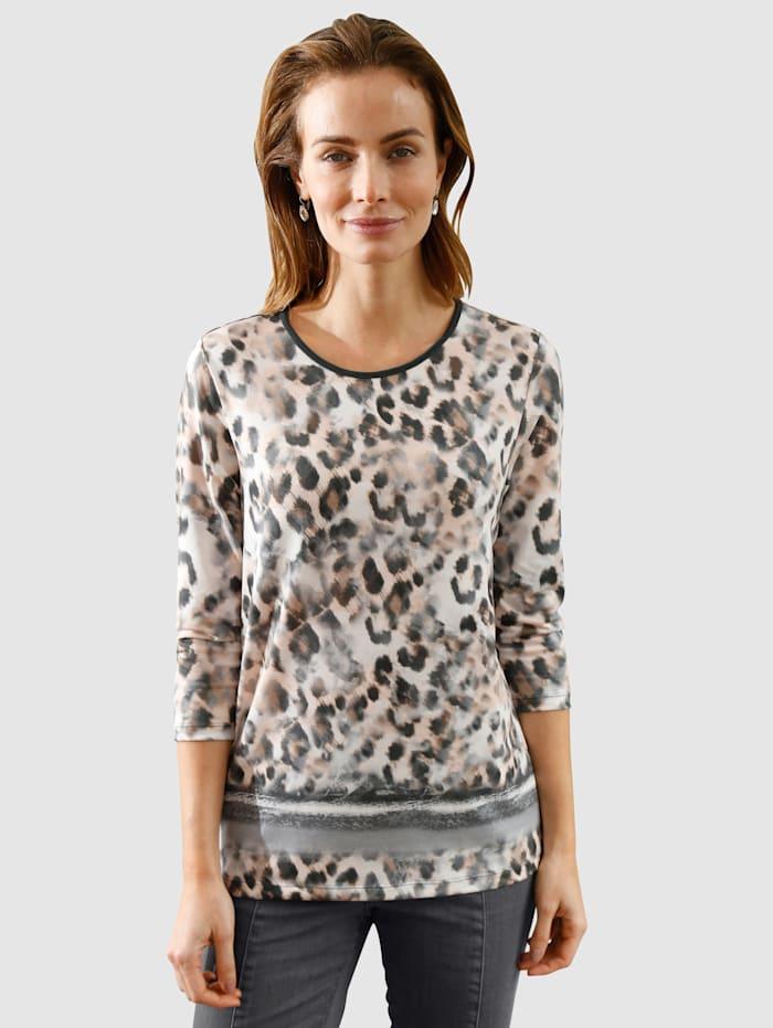 Paola Shirt met animaldessin, Lichtbruin/Grijs/Zwart