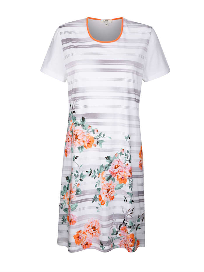 Cybèle Nachthemd mit floralem Bordürendruck auf dem Oberteil, Weiß/Apricot/Pink