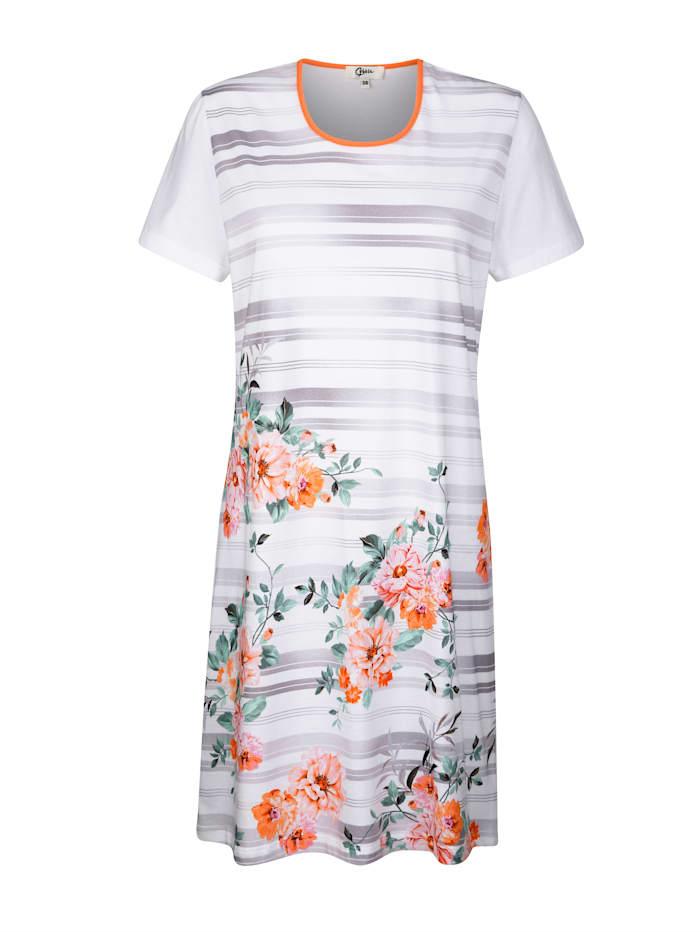 Cybèle Nočná košeľa s kvetinovou bordúrovou potlačou na hornom diele, Biela/Marhuľová/Pink