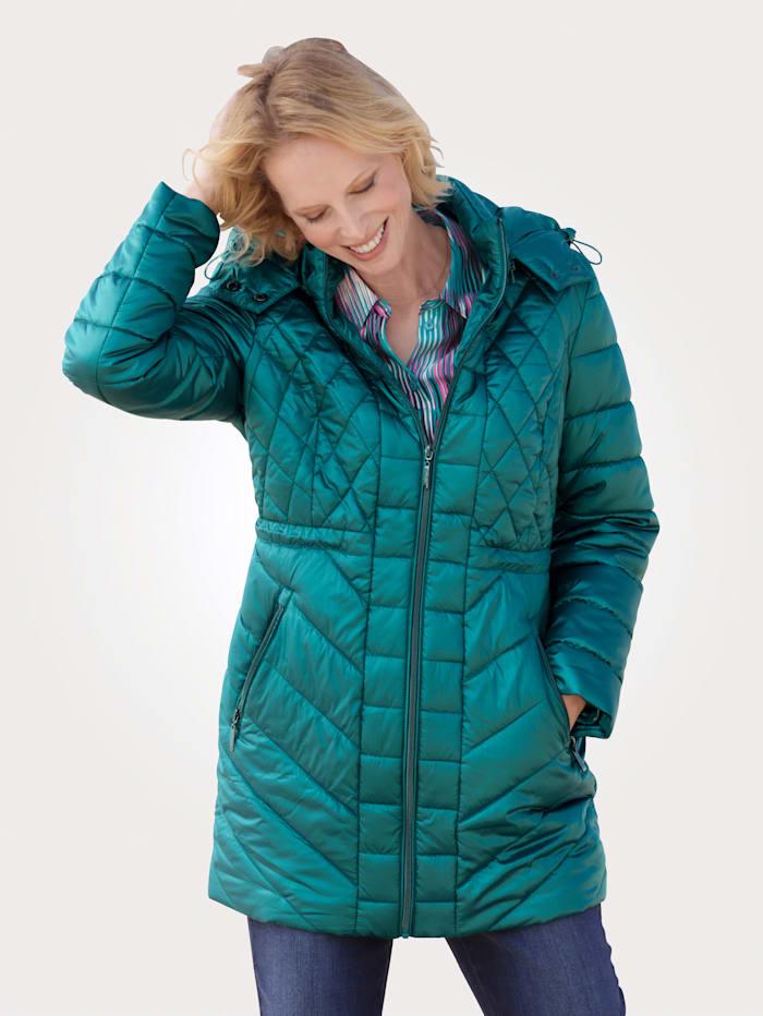 MONA Gewatteerde jas met afritsbare capuchon, Turquoise