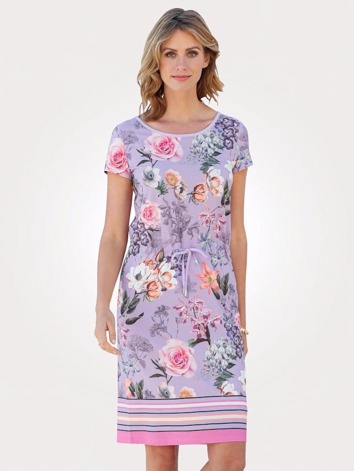 MONA Jerseykleid mit floralem Druck, Lavendel/Rosé
