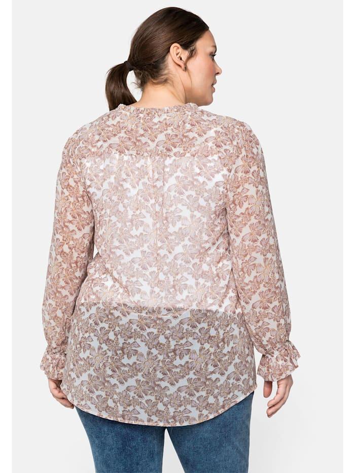 Bluse mit Rüschen, transparent