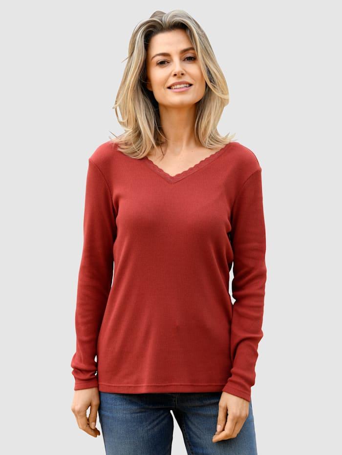basically you Shirt met kanten inzetbij de hals, Terracotta