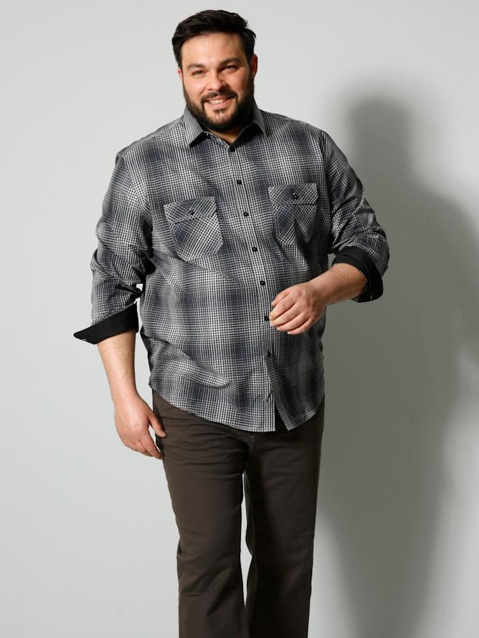 Men Plus Hemd mit Brusttaschen, Schwarz/Weiß