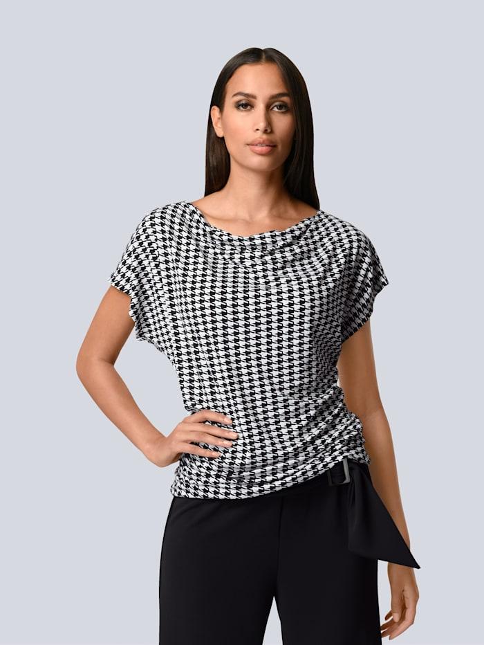 Alba Moda Shirt im Hahnentritt Dessin, Schwarz/Weiß