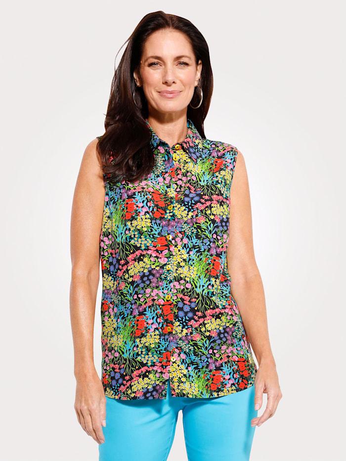 MONA Blouse met bloemenprint in harmonieuze kleuren, Zwart/Blauw