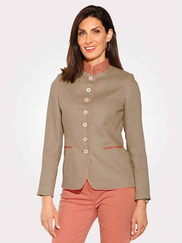 MONA Jacket made from crease-resistant linen, Sand/Salmon Pink