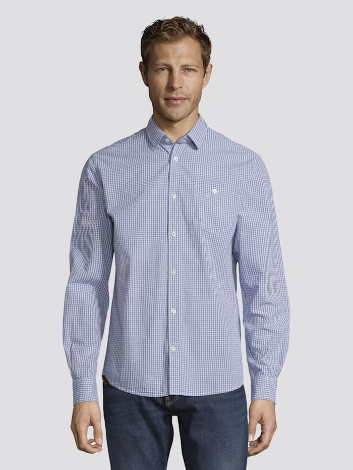 Tom Tailor Fein Kariertes Hemd mit Brusttasche, light blue fil a fil vichy